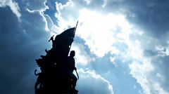 FLAG MONUMENT WITH CLOUDS Stock Footage