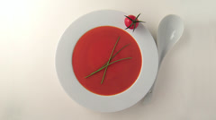 tomato soup in bowl, chive and tomato - stock footage
