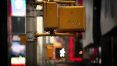 Pedestrian Crossing Street Light Flashing New York City Stock Footage