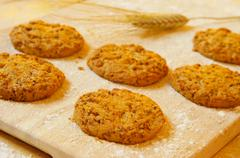 bran flake cookies - stock photo