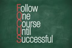 focus - follow one course until successful - stock illustration