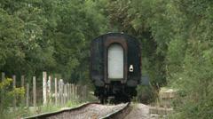 Vintage Steam Train Leaving Station Stock Footage
