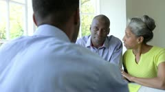 Mature Black Couple Meeting With Financial Advisor At Home - stock footage