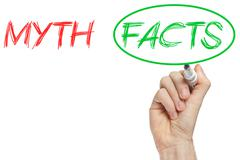 Myth and facts Stock Photos