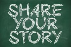 Stock Illustration of share your story phrase