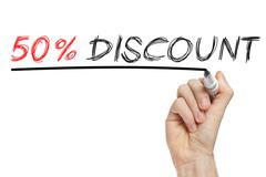 Hand writing 50 percent discount Stock Photos