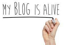 My blog is alive phrase Stock Photos
