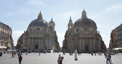 UltraHD 4K People Square Rome Santa Maria Montesanto Dei Miracoli Twin Church Stock Footage
