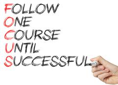 focus - follow one course until successful - stock photo