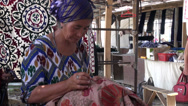 Stock Video Footage of Lady knitting in Uzbekistan