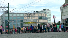 World clock in Alexanderplatz Stock Footage