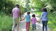 Stock Video Footage of African American Family Walking In Countryside