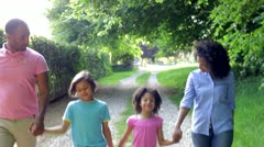 African American Family Walking In Countryside Stock Footage