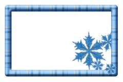 Blue plaid frame with snowflakes for your message or invitation Stock Illustration