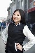 Stock Photo of Portrait of young woman in Houhai, Beijing, China