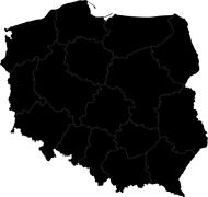 Black Poland map - stock illustration