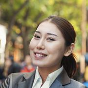 Stock Photo of Portrait of young business woman in Houhai, Beijing, China