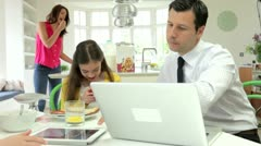 Family Argument Over Digital Devices At Breakfast Table - stock footage