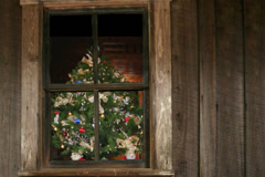 Christmas tree seen through window of old wooden farmnouse Stock Footage
