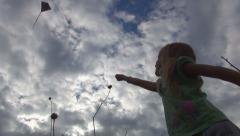 Child Playing with Kite on Meadow, Little Girl Flying a Dragon in Sky, Children Stock Footage