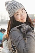 Young woman ice skating portrait, Beijing Stock Photos