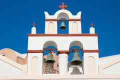 Small belltower of a church in Oia Stock Photos