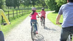 Hispanic Family On Cycle Ride In Countryside Stock Footage