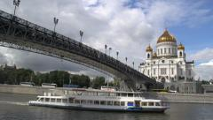 Stock Video Footage of Cathedral of christ the saviour with cruiseship bridge