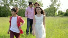 Hispanic Family Walking In Countryside Stock Footage