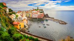 panoramic view of colorful vernazza village in cinque terre - stock photo