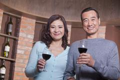Mature Couple at a Winetasting Stock Photos