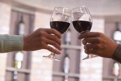 Close Up of Couple Toasting, Hands and Wineglass only Stock Photos