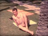 8MM SPAIN man taking sunbath Stock Footage