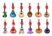 Stock Illustration of A Set of Beautiful Ukulele Guitars with Red Ribbon