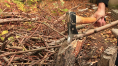 chopping firewood - stock footage