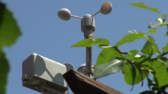 Weather vane, weather station on a windy summer day, forecast Stock Footage