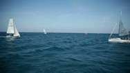 Stock Video Footage of Sailboats sailing on wide open sea