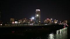 Mass ave bridge boston at night Stock Footage