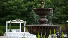 Fountain at august wedding ceremony Stock Footage
