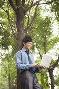 Stock Photo of Young businessman lining next to the tree and working on his laptop