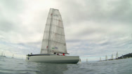 Stock Video Footage of Low angle shot of sailboat waiting for competition start