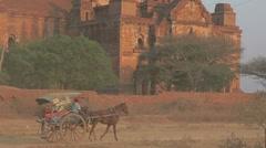 Tourist taking cart ride, Bagan Stock Footage