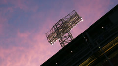 Boston baseball park lights sunset Stock Footage