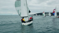 Stock Video Footage of Following sailboat from behind on open sea