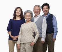 Multi generation family portrait - stock photo
