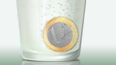 Fizzy Euro coin (close-up) Stock Footage