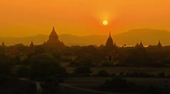 Colorful sunset in Bagan Stock Footage