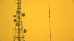 Communication Tower at Sunset Stock Footage