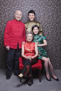 Family Portrait In Chinese Traditional Clothing - stock photo