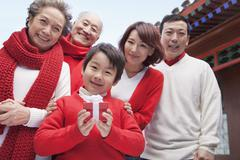 Multi-generation Family in Traditional Chinese Courtyard - stock photo